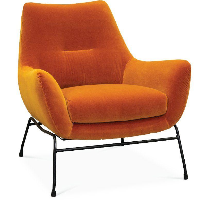 Stupendous Mid Century Modern Amber Orange Accent Chair Falkirk Ibusinesslaw Wood Chair Design Ideas Ibusinesslaworg