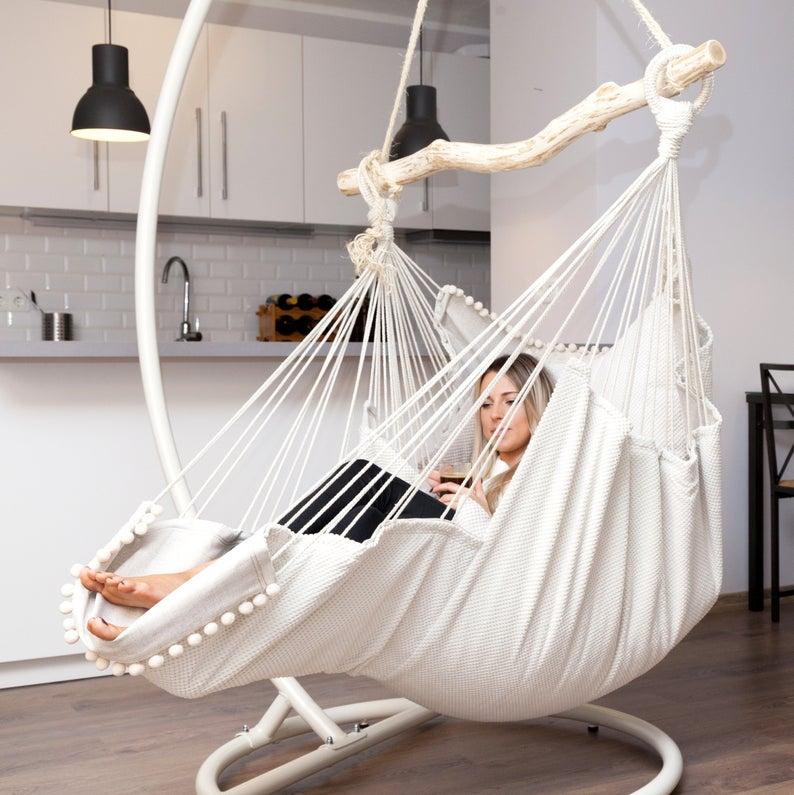 Hammock chair White/White in 2019 Hanging hammock chair