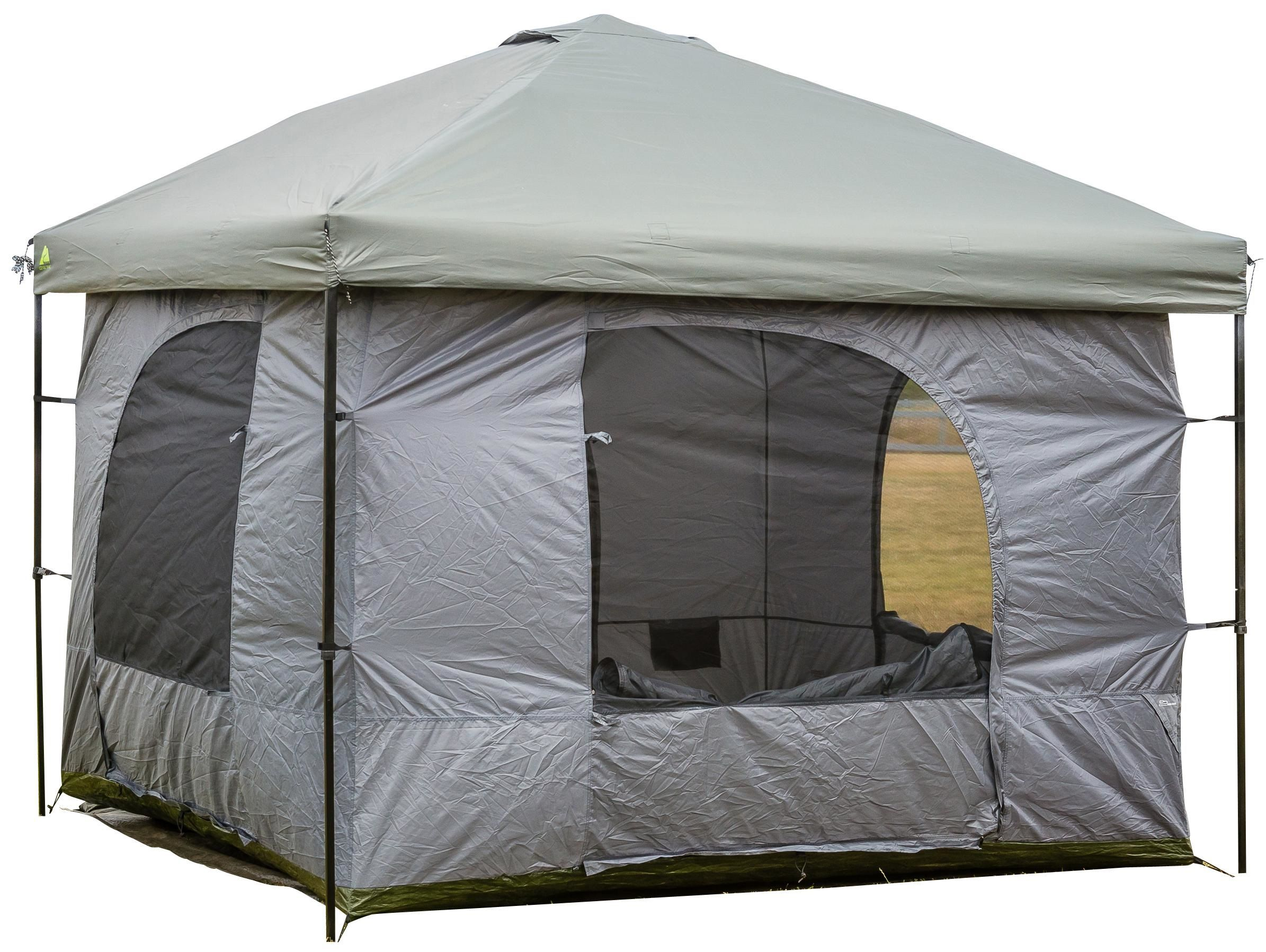 Standing Room 100 Family Cabin C&ing Tent With feet of Head Room 2 Big Screen Doors Big Screen Doors with Grey XL) All Season Weather Proof Fabric Fast  sc 1 st  Pinterest & Affordable Camping / Glamping tent with almost 9 feet of head room ...