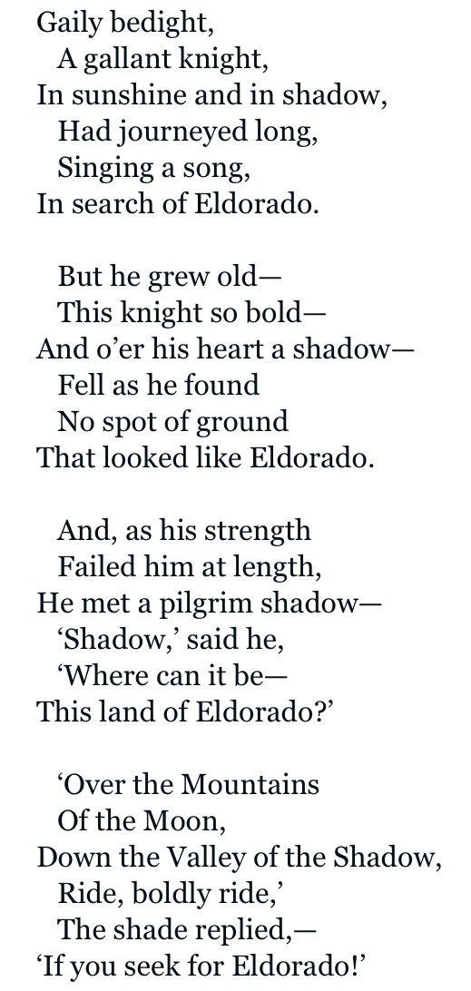 El Dorado by Edgar Allen Poe | Words quotes, Poem quotes ...