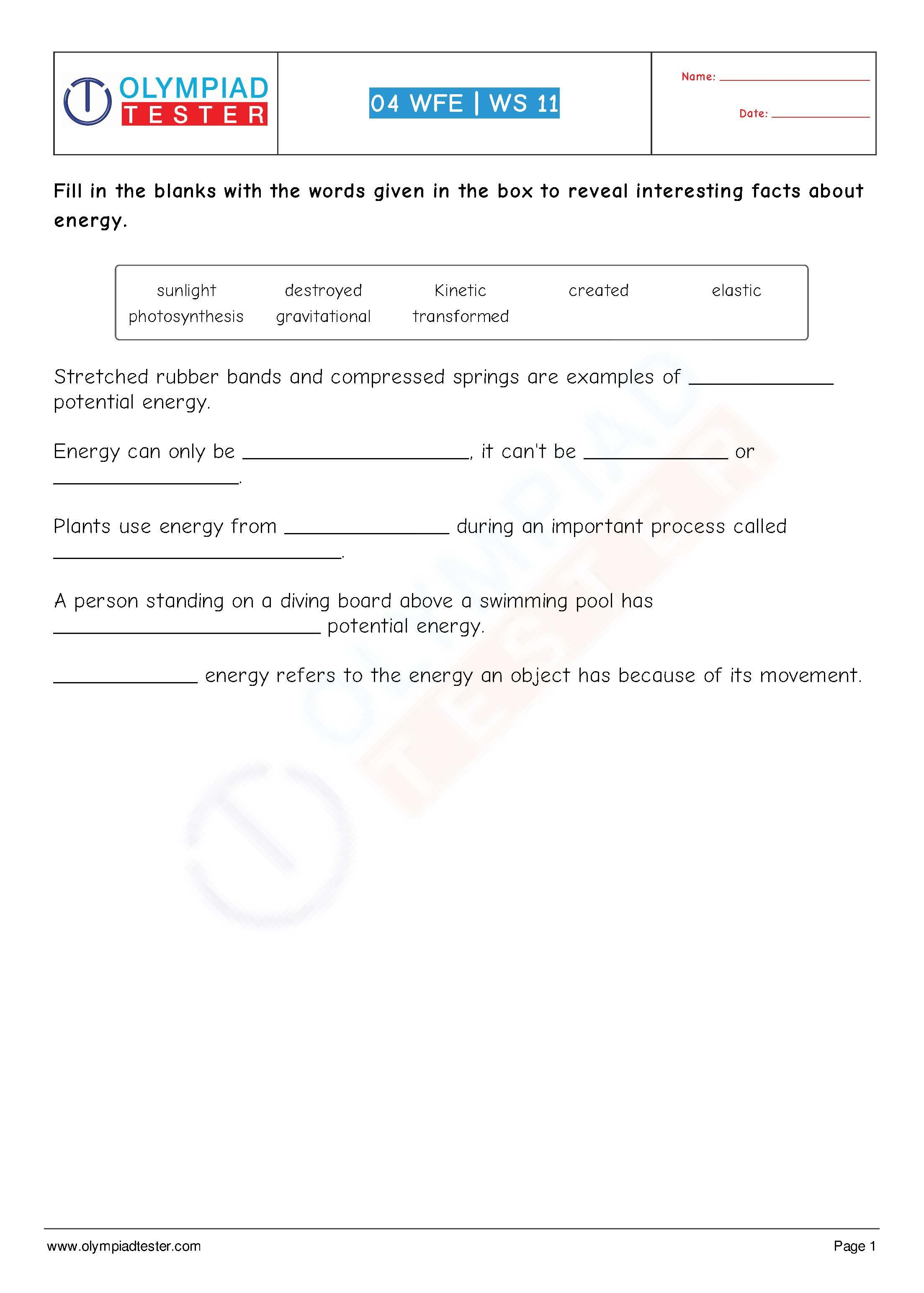 Download Grade 4 Science Worksheet Cloze Of Olympiadtester On The Chapter Work Force A Social Studies Worksheets Science Worksheets Educational Worksheets