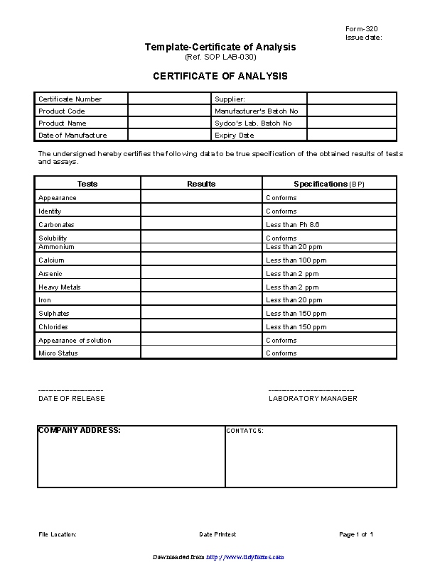 Certificate Of Analysis Template 1