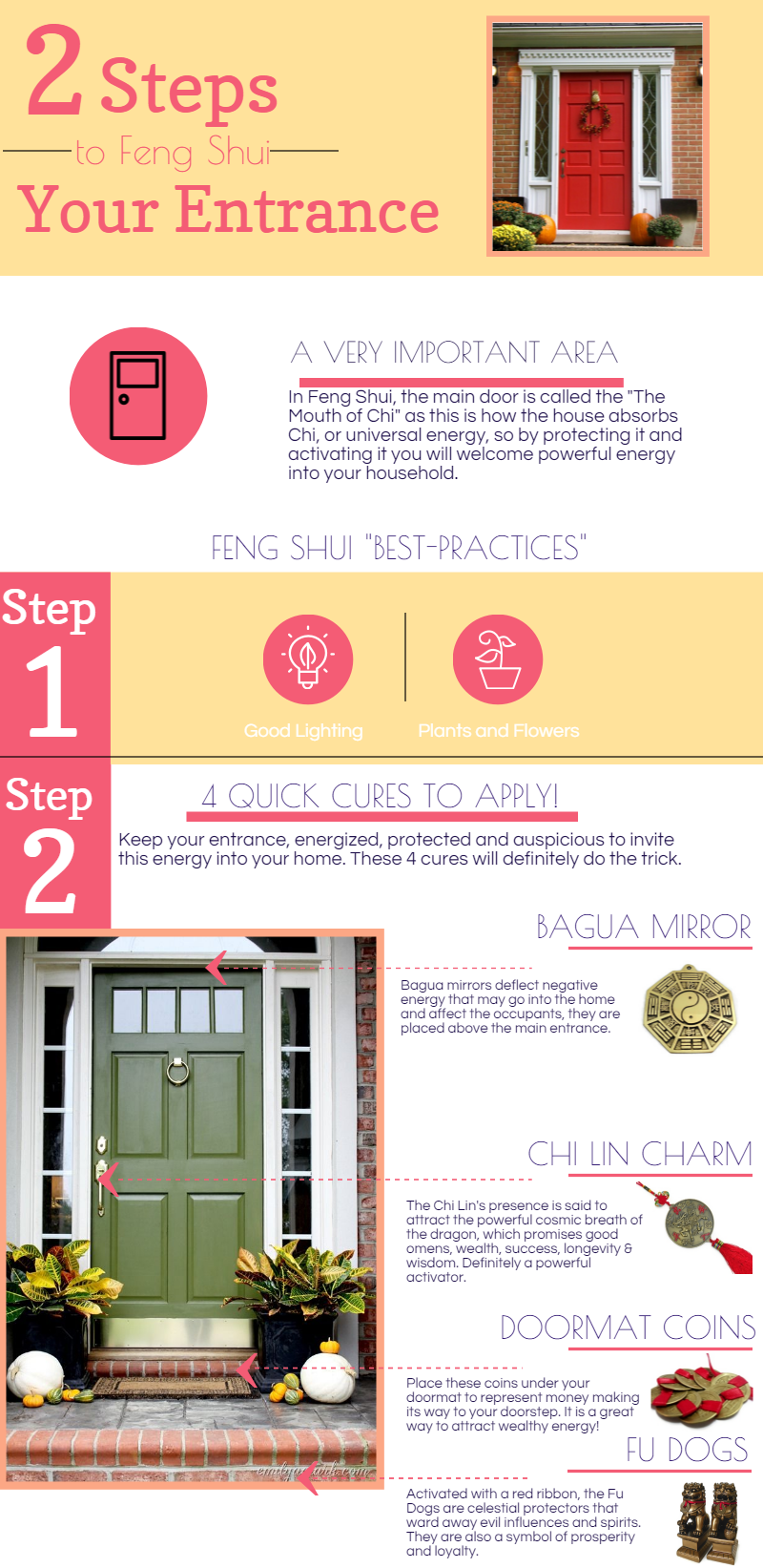 fun feng shui infographic to activate your entrance in 2 easy steps and in 5 minutes feng shui quick spells