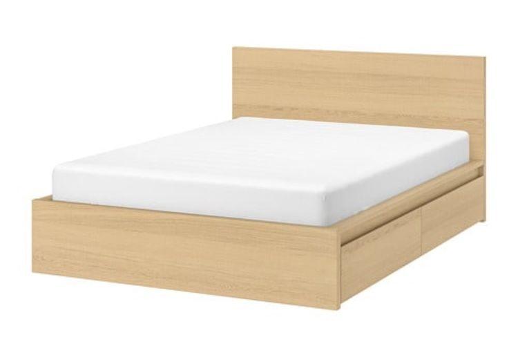 King White Stained Oak Veneer Luroy Slatted Bed Base Home