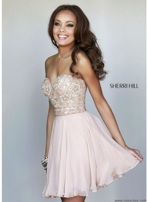 NEW Style Discount Sherri Hill 8548 Nude Beaded Sweetheart Chiffon Homecoming  Dress