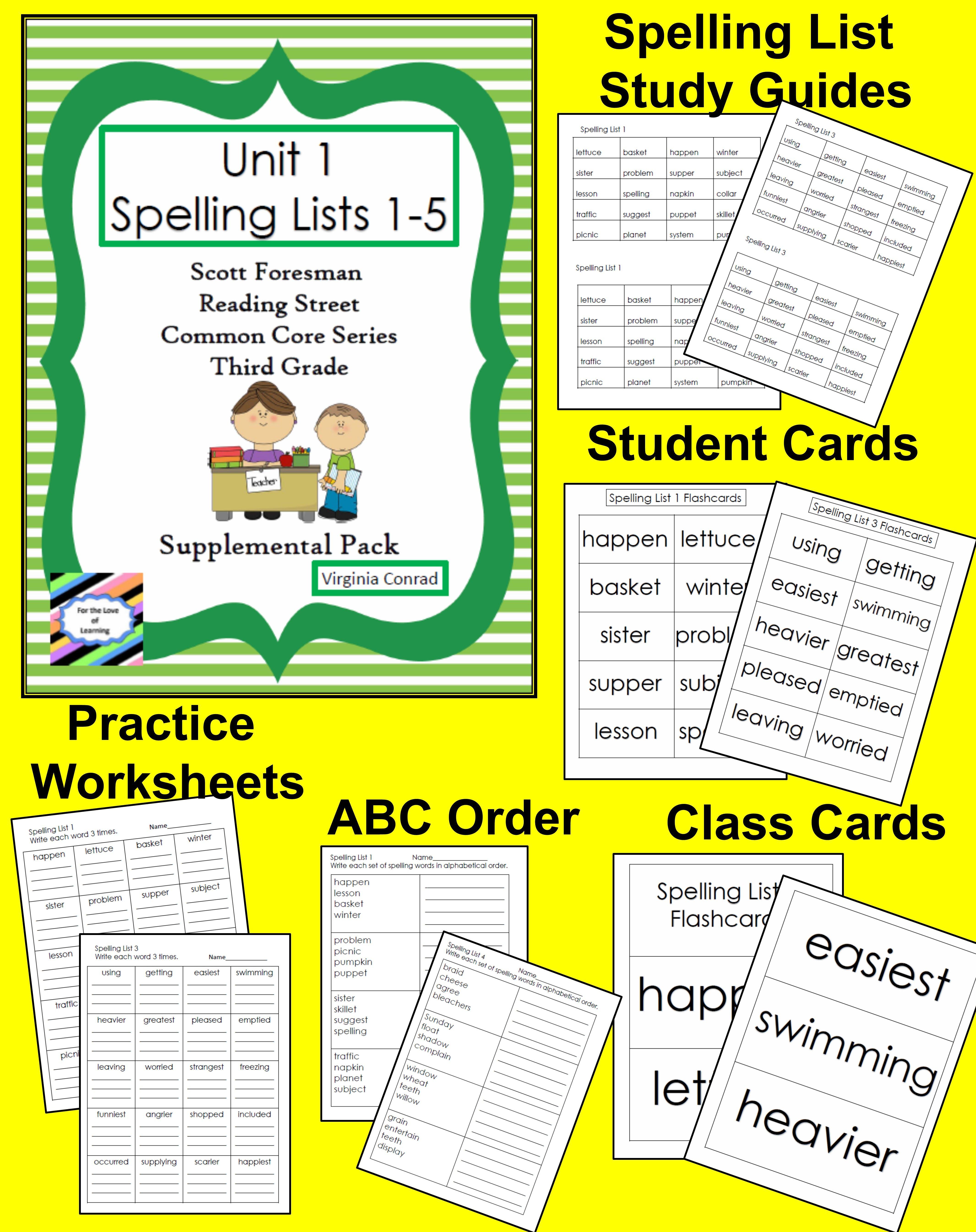 Spelling Lists 1 5 Supplemental Packet Reading Street