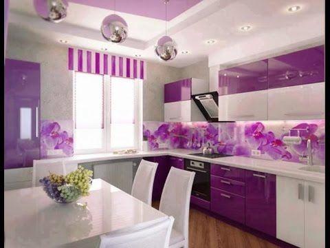 صور ستائر للمطبخ 2017 أحدث ستائر المطبخ للعروسة الجزء الثاني Youtube Purple Kitchen Designs Purple Kitchen Walls Purple Kitchen