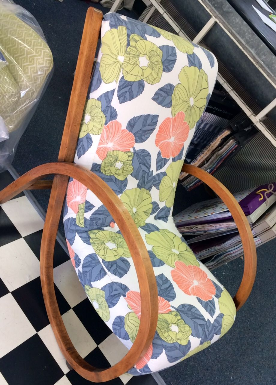 Upholstered antique chair by Brisbane Fabric Market #Brisbane #fabric  #market #chair #design #orange #green #flower #floral - Upholstered Antique Chair By Brisbane Fabric Market #Brisbane