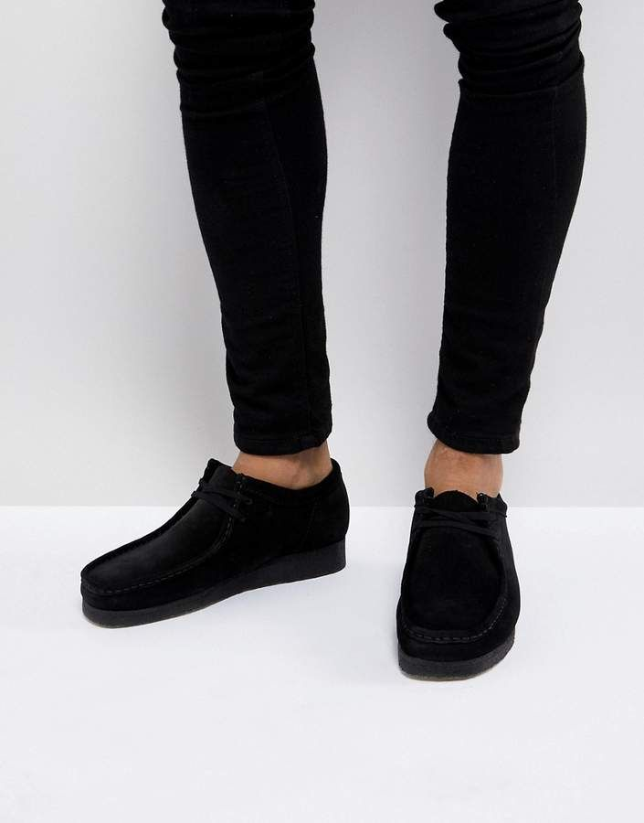 Clarks Wallabee Suede Shoes In Black