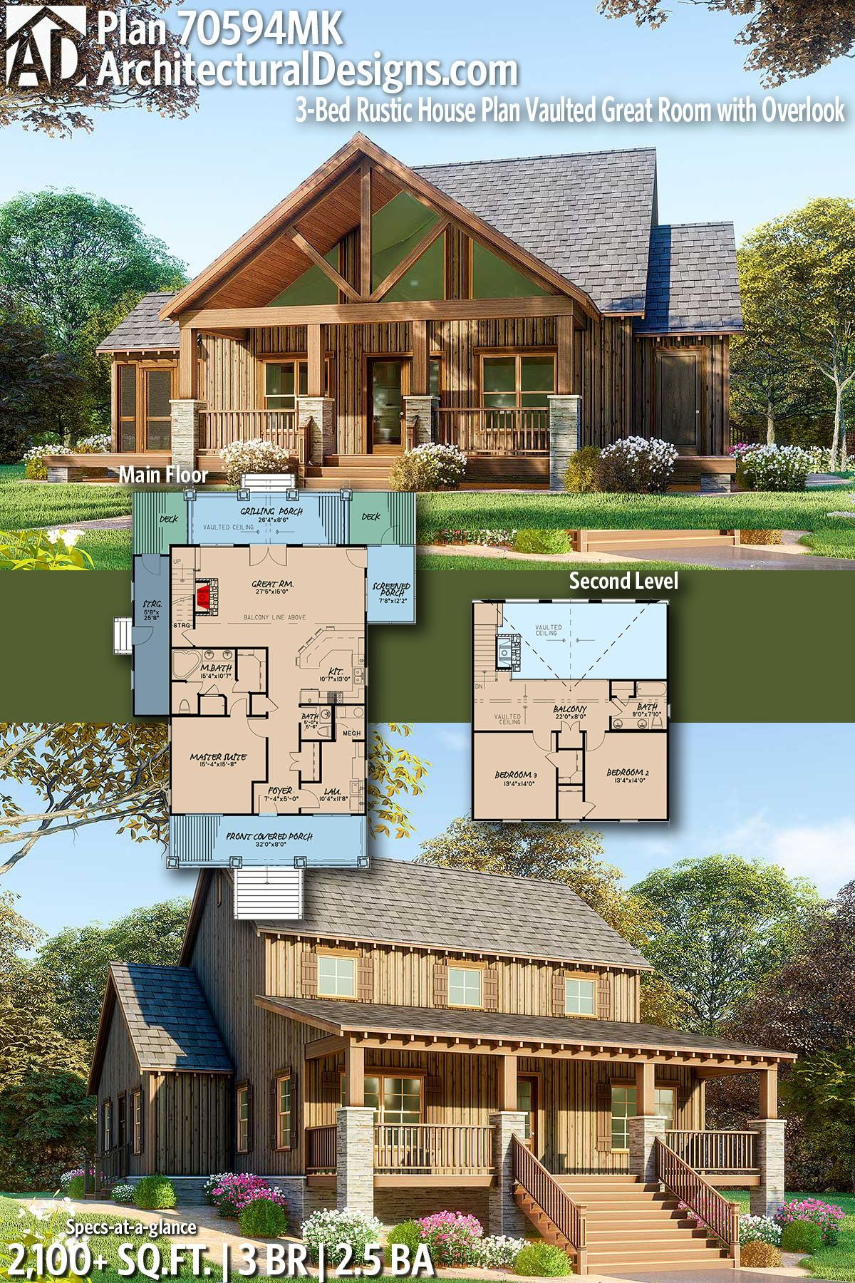 Plan 70594mk 3 Bed Rustic House Plan Vaulted Great Room With Overlook Rustic House Plans Rustic House House Plans