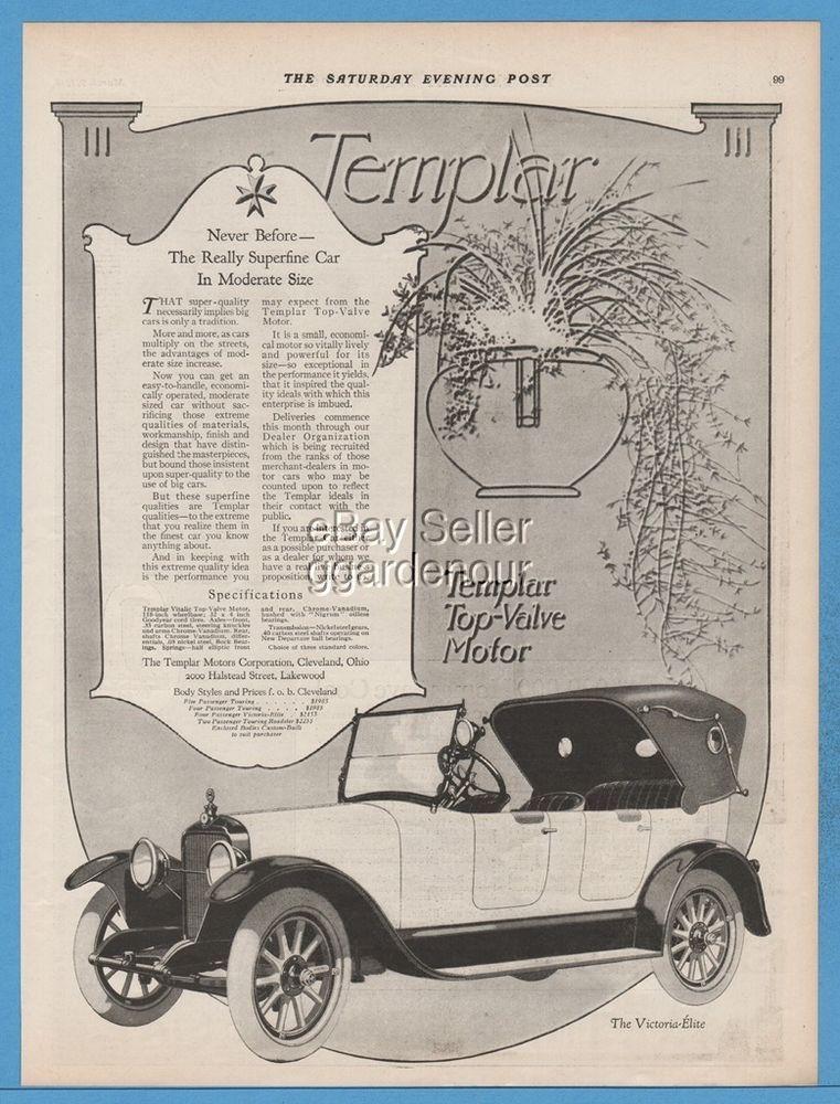 1918 Templar Motors Corp Cleveland Ohio Victoria Elite Open Car ...