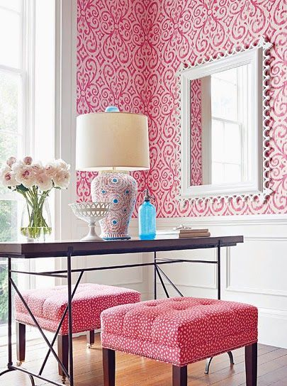Bright bold pink and white office / bedroom. Geometric wallpaper ...