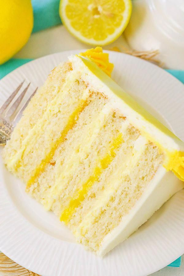 Lemon Bavarian Cake - layers of soft lemon cake, lemon bavarian cream and lemon curd covered in lemon buttercream! #cakerecipes #lemonbuttercream Lemon Bavarian Cake - layers of soft lemon cake, lemon bavarian cream and lemon curd covered in lemon buttercream! #cakerecipes #lemonbuttercream