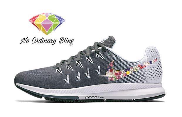 Candy Bling Nike Air Zoom Pegasus 33 Womens Pure Platinum Grey   NoOrdinaryBling f689947fec3f