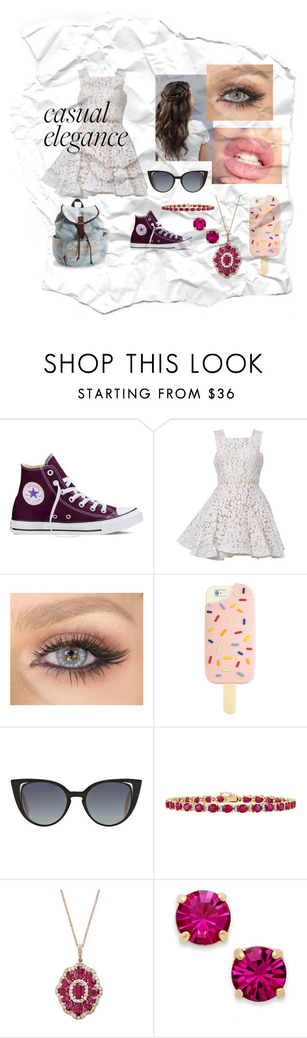 """""""Casually elegant date"""" by eva-maria-h ❤ liked on Polyvore featuring Converse, Alex Perry, Tory Burch, Fendi, Effy Jewelry, Kate Spade and Aéropostale"""