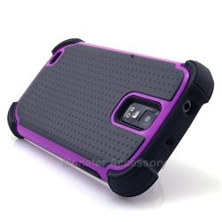 Click Image to Browse: $9.95 Black Purple X Shield Double Layer Hard Case Gel Cover For Samsung Galaxy S2 (Hercules T989)
