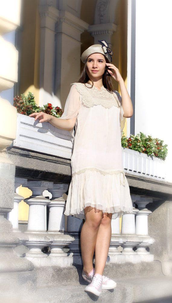 Crochet Kleid, 20er Jahre Kleid, Gatsby Kleid, weißes ...