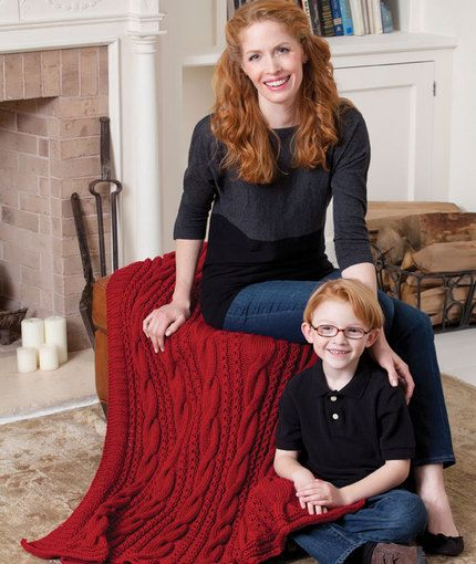 Cabled Comfort Throw Knitting Pattern   Red Heart   Knit ...