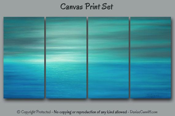 Teal abstract painting - Canvas art print set, multi panel 4 piece wall art, Blue gray aqua turquoise, Coastal Beach decor, Seascape Sunset. ArtFromDenise.com - view more info at https://www.etsy.com/listing/290348455