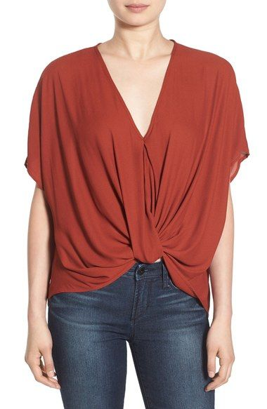 Lush Twist Front Woven Top Available At Nordstrom Shirts Blouses