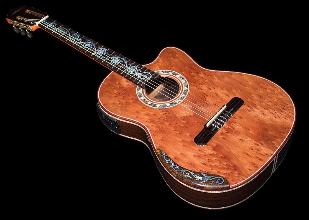 Indonesian Rosewood Redwood Burl Top Jupiter Guitar Classical Guitar Guitar Beautiful Guitars