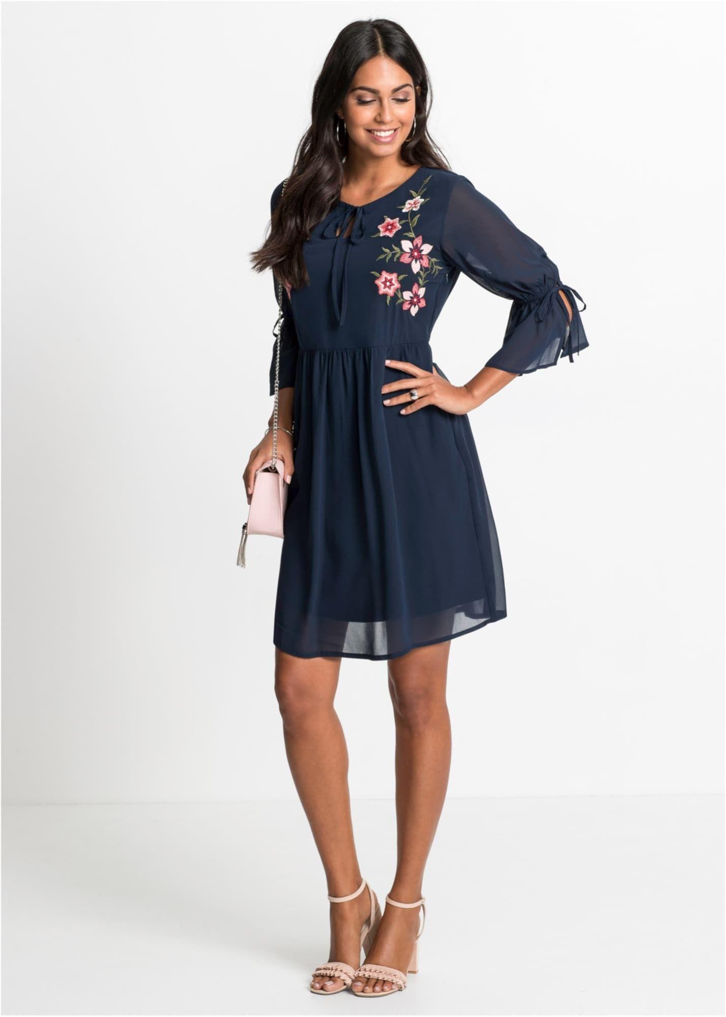 Bonprix Kleid Damen, Dunkelblau / Rosa / Pitaya, Größe 11