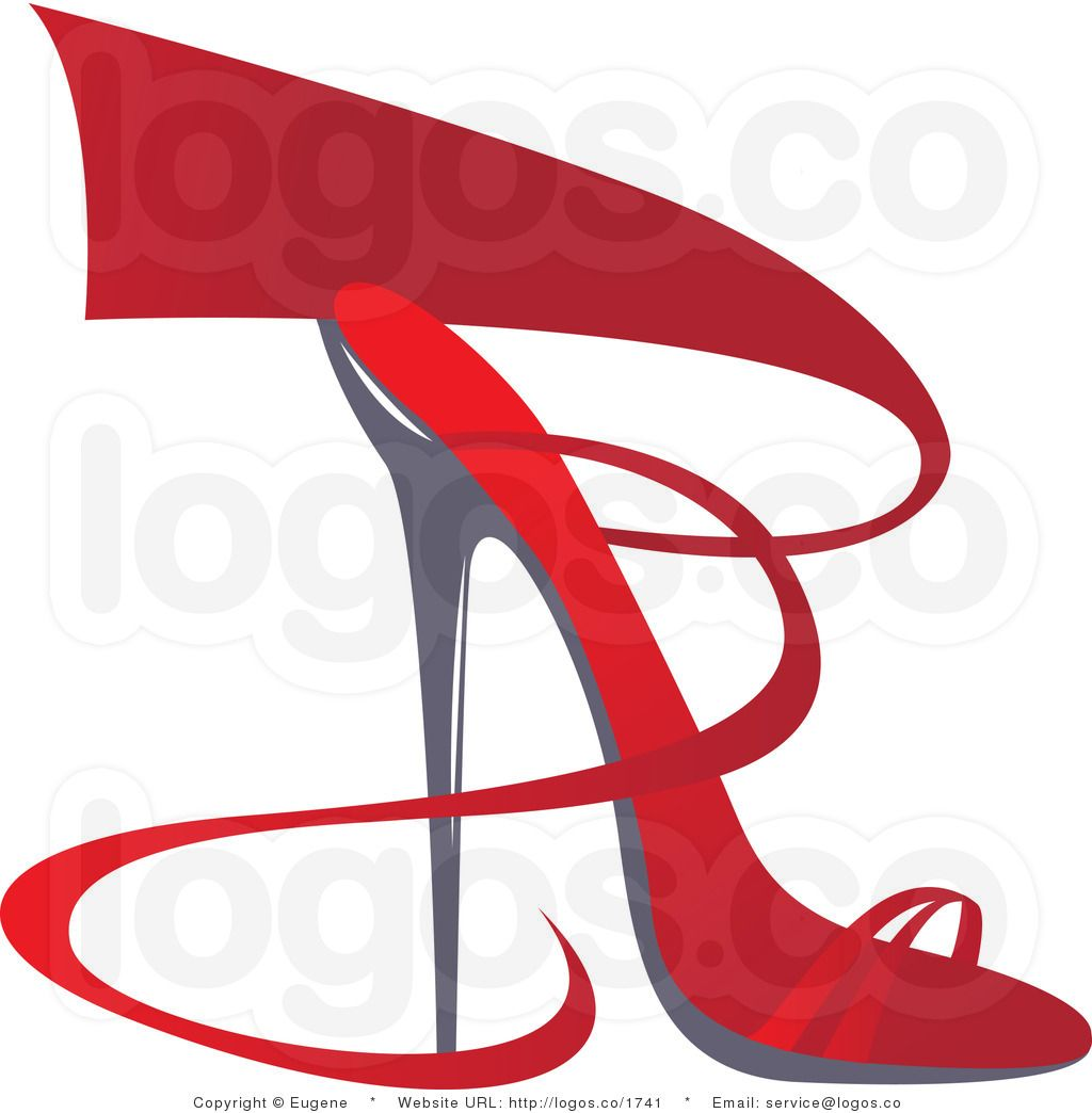 Royalty Free Design of a Red Heel Shoe with Red Ribbon Logo by .