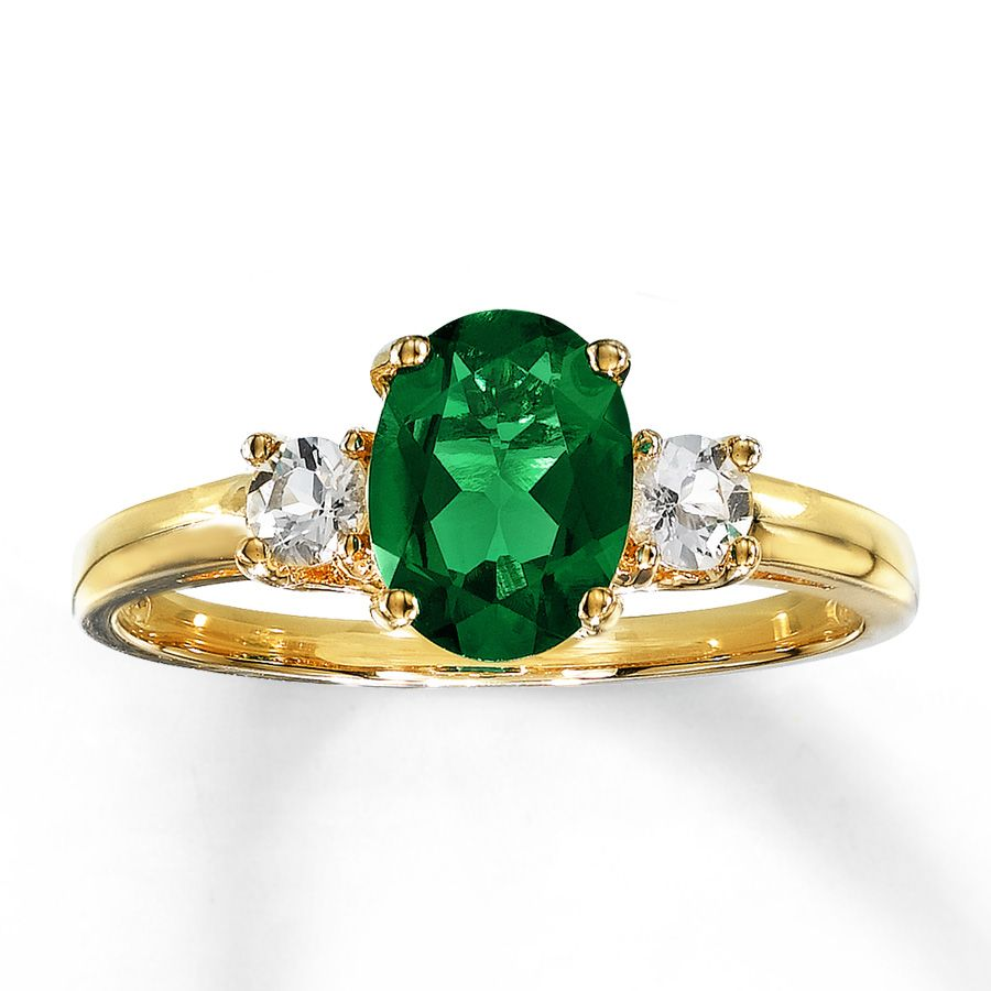 Lab-Created Emerald Ring Lab-Created Sapphire 10K Yellow Gold