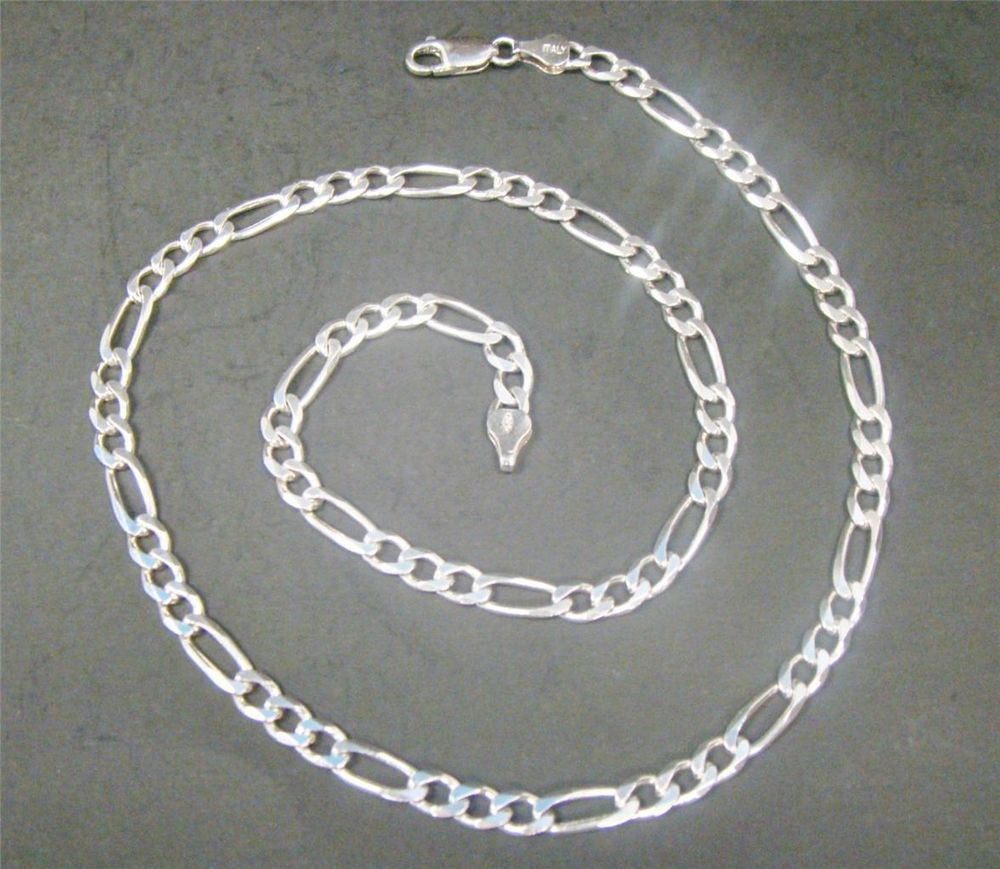"""20.5"""" FIGARO CHAIN 925 STERLING SILVER ITALY 5.4MM 21.2g NECKLACE LOBSTER CLASP #Chain"""