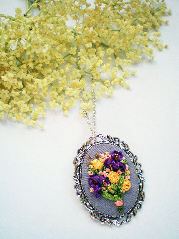 Summer Outdoors Purple Iris Yellow Rose Silk Ribbon Bridal Bouquet