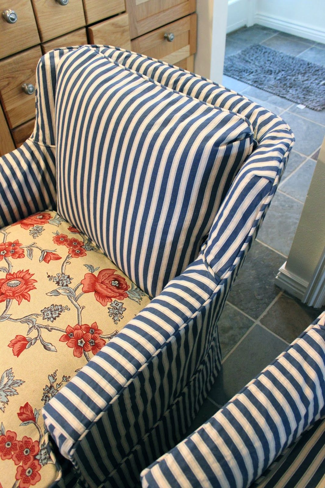 Pillow Back Cushion With Kiss Pleats Custom Slipcovers Striped Chair Upholstery
