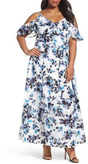 Plus Size Women's Eliza J Floral Print Maxi Dress (plus size) #plussizefashion #dress