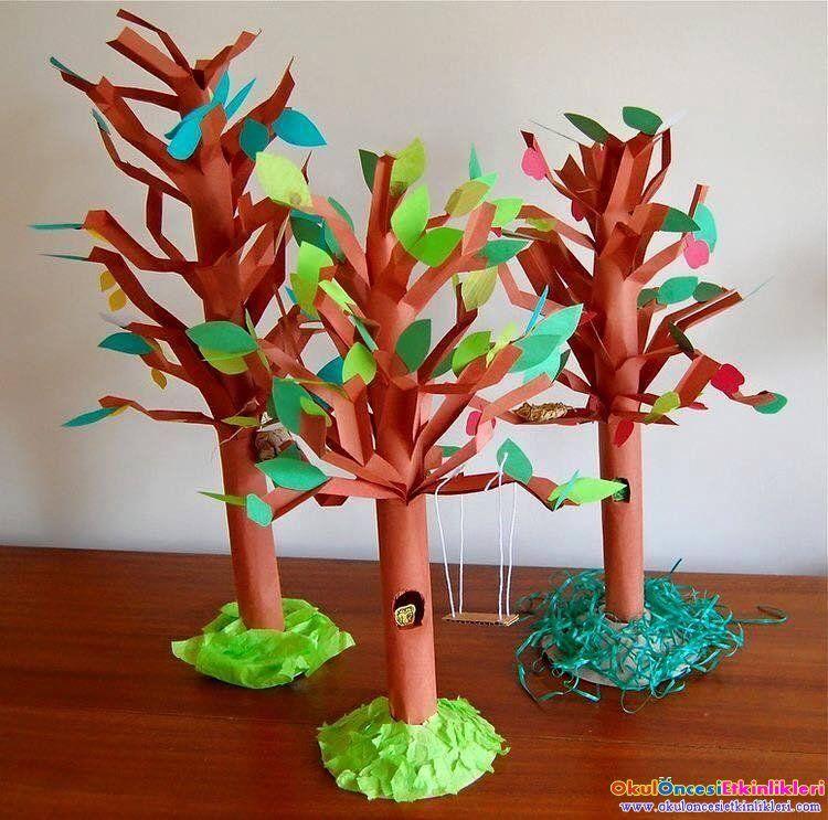 üç Boyutlu Sonbahar Ağaçları Okul öncesi Etkinlikleri