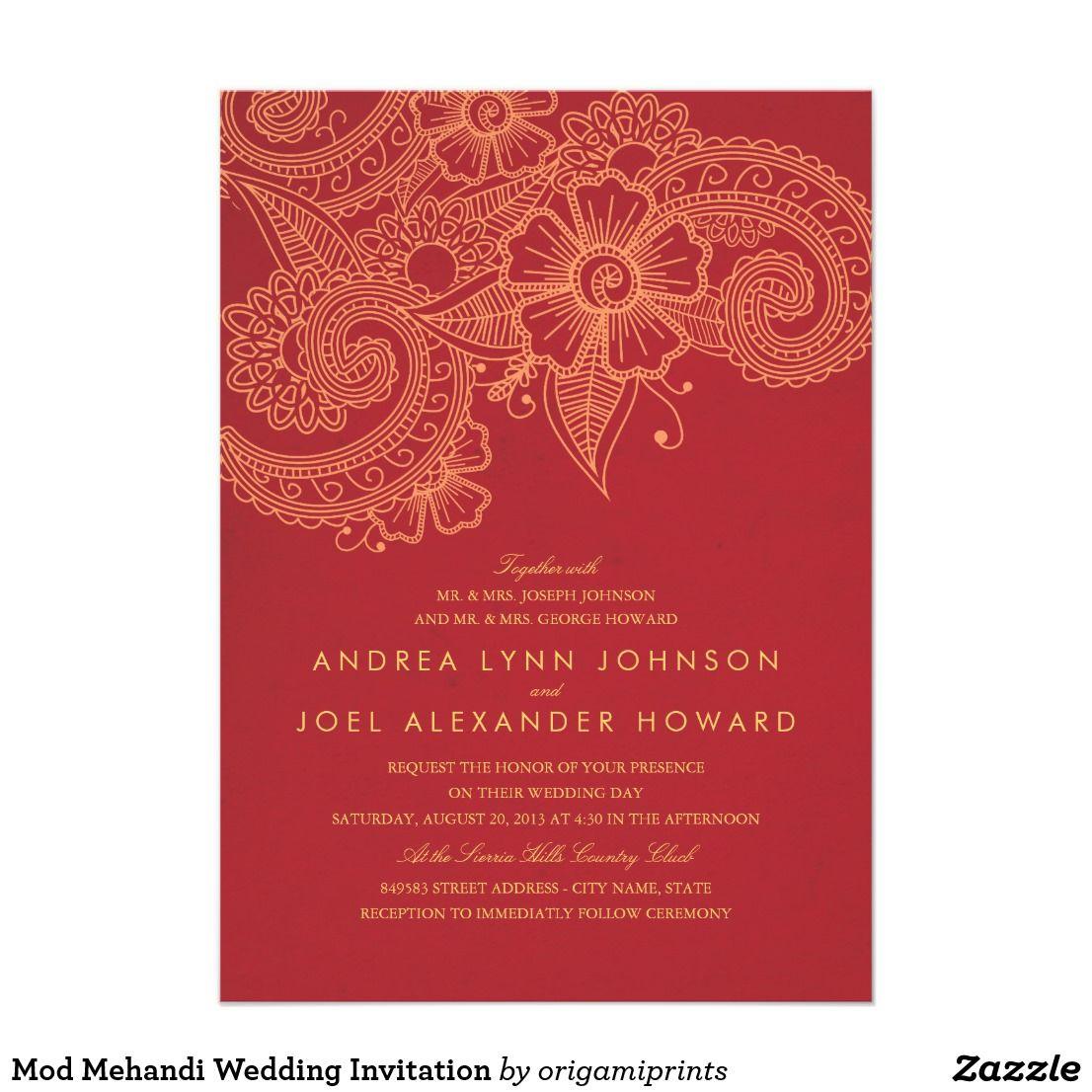 Mod Mehandi Wedding Invitation Elegant henna inspired wedding design ...