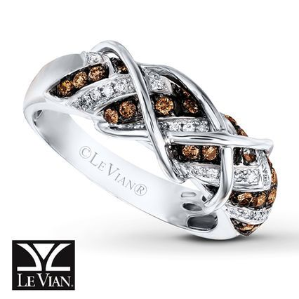 Craving chocolate?  Le Vian Chocolate Diamonds® and Vanilla Diamonds® Ring in 14K Vanilla Gold®