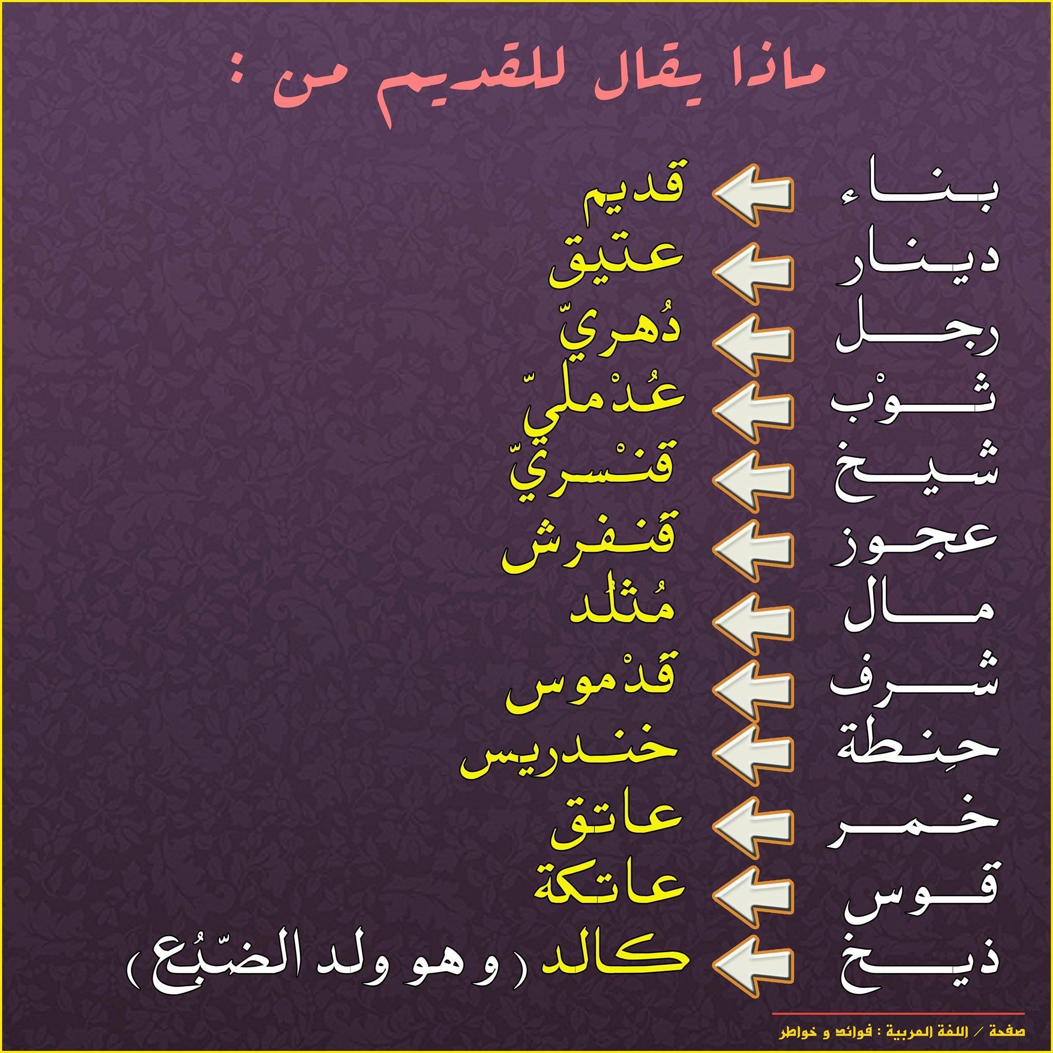 القديم من الشيء Learn Arabic Language Arabic Language Learning Arabic