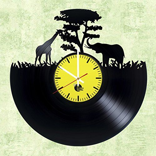 Giraffe and Elephant HANDMADE Vinyl Record Wall Clock – Get unique ...