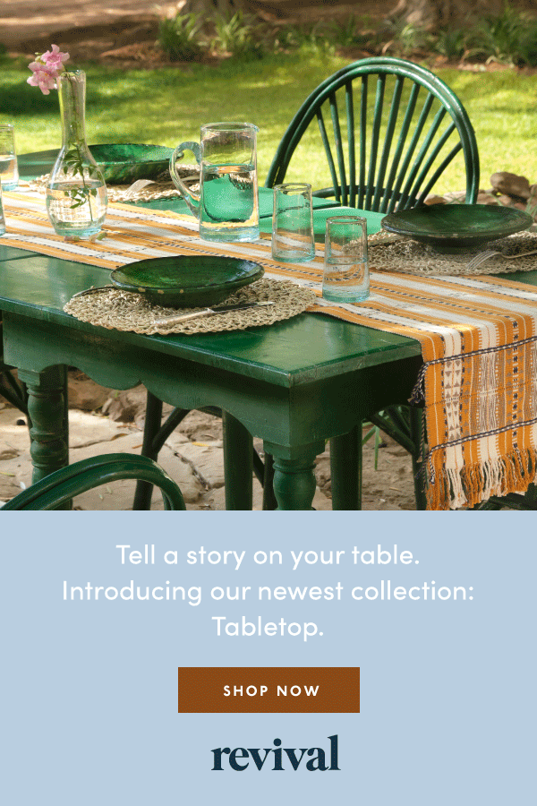 Adorn your table with handcrafted recycled Moroccan glassware, Naga cotton table runners and more.