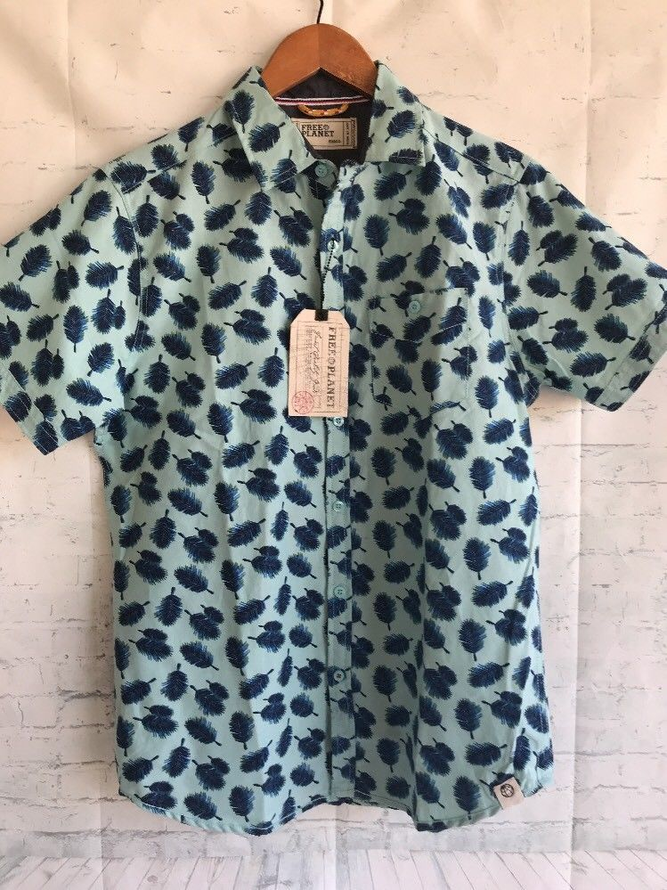 Free Planet Button Up Shirt Feathers Blue Small Cotton Blend Nwt 50
