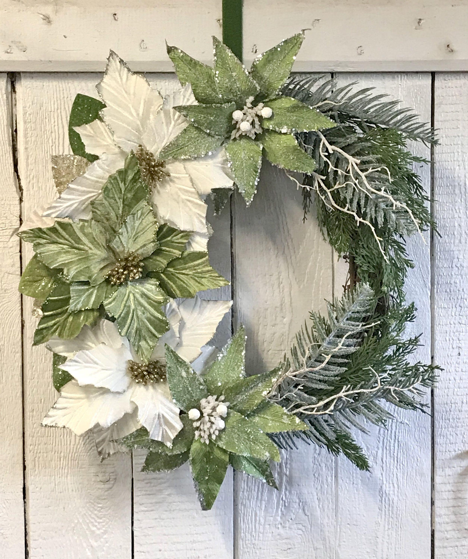 Christmas Wreath Holiday Wreath Winter Wreath Poinsettia Wreath Christmas Flower
