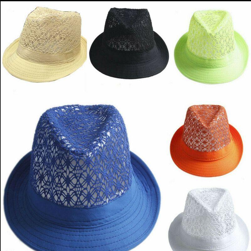 Children Hollow Panama Hat Jazz Caps Summer Sunhats Fedora Beach Sun Visor Cap