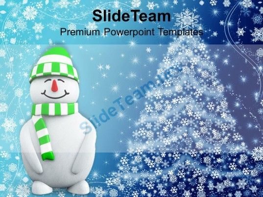 Christmas Greetings Snowman With Background Powerpoint Templates - christmas powerpoint template