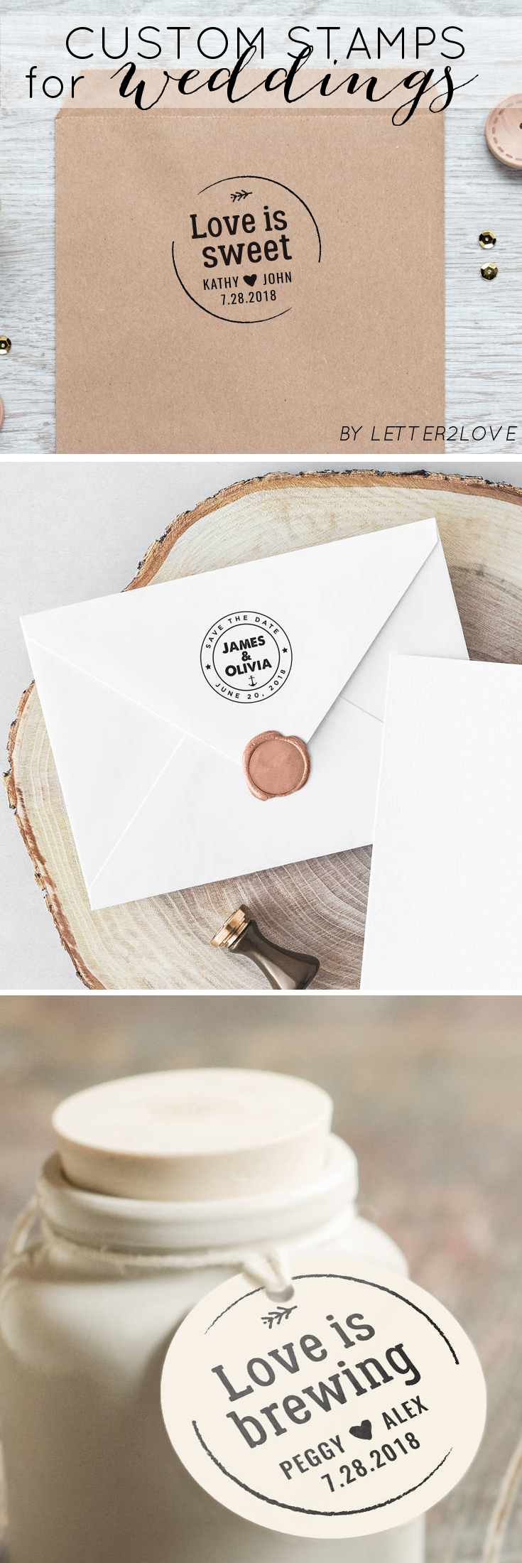 Make your own wedding favors with these custom wedding stamps ...