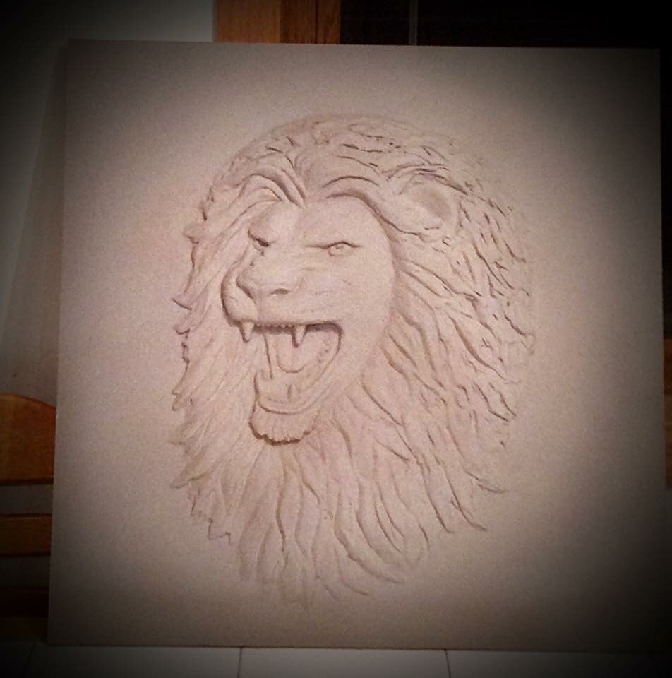 Lion Drywall Sculpture By Rose M Kelsey RK Drywall Sculpture - Artist uses drywall to create extraordinary sculptures