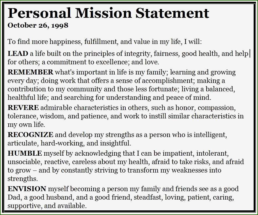 20 Skillful Personal Mission Statement Template in 2020
