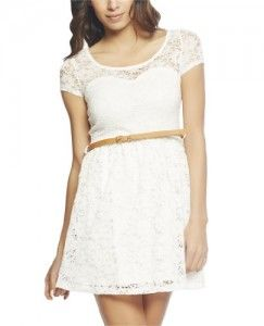 Wet Seal Women's Lace Belted Skater Dress