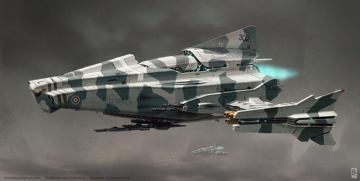 Attack Ship Concept, Christopher Balaskas on ArtStation at https://www.artstation.com/artwork/attack-ship-concept