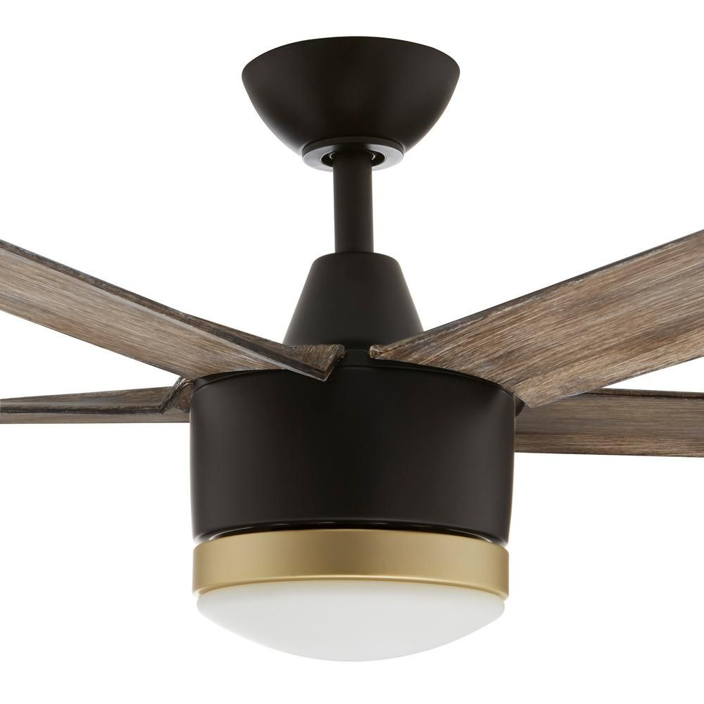 Home Decorators Collection Merwry 56 In Integrated Led Indoor Outdoor Matte Black Ceiling Fan With Light Kit And Remote Control Sw1422 56in Mbk The Home Depo In 2020 Ceiling Fan With Light Black