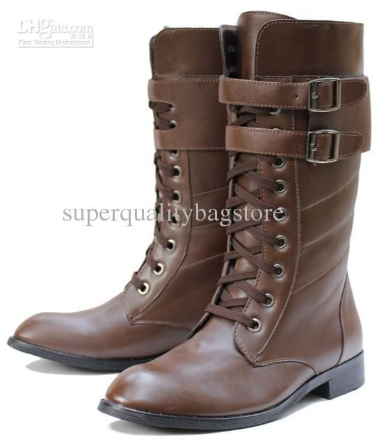 Top Hot Men's Shoes Knee-High Boots,Punk Detachable Buckle Straps ...