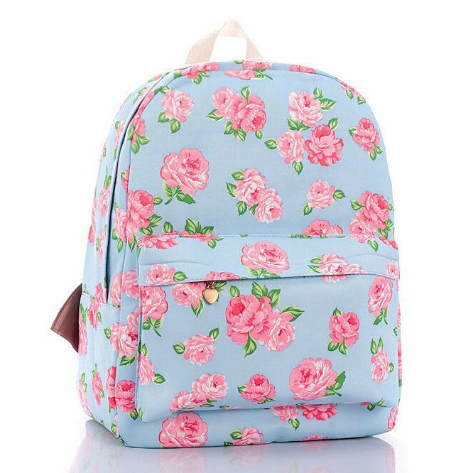 2015 New Printing backpacks Rose floral Cute school bags for women ...